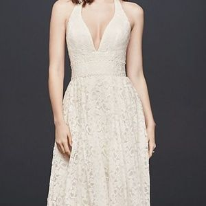 Plunging Lace Halter ball gown Wedding dress